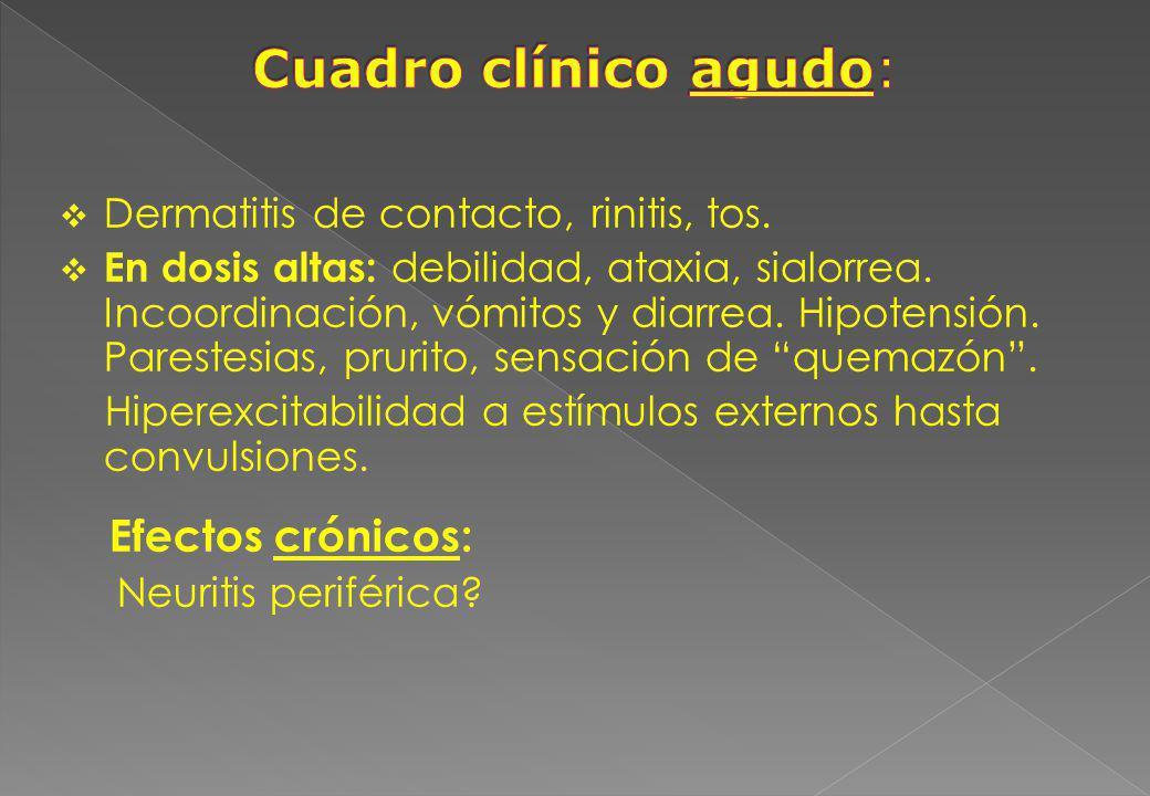 Dermatitis de contacto, rinitis, tos. En dosis altas: debilidad, ataxia, sialorrea. Incoordinación, vómitos y diarrea. Hipotensión. Parestesias, pruri