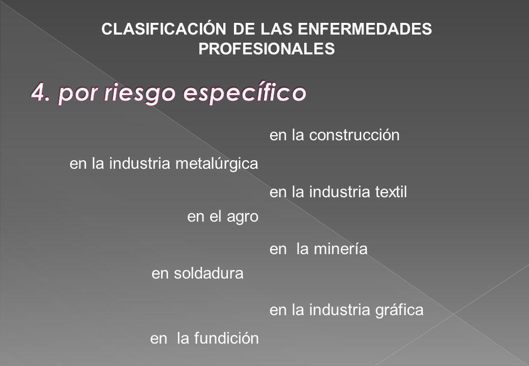 en la construcción en la industria metalúrgica en el agro en la industria gráfica en la fundición en soldadura en la industria textil CLASIFICACIÓN DE