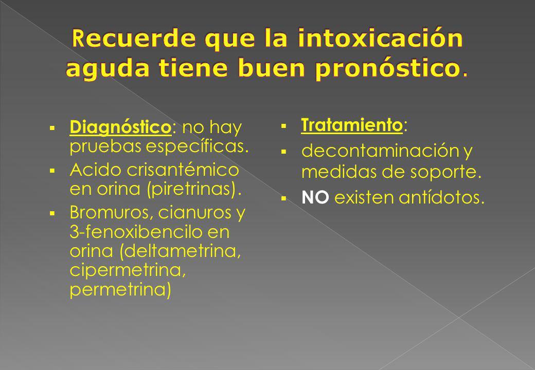 Diagnóstico : no hay pruebas específicas. Acido crisantémico en orina (piretrinas). Bromuros, cianuros y 3-fenoxibencilo en orina (deltametrina, ciper