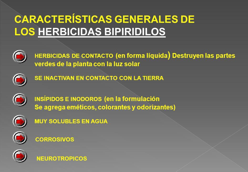CARACTERÍSTICAS GENERALES DE LOS HERBICIDAS BIPIRIDILOS HERBICIDAS DE CONTACTO (en forma líquida ) Destruyen las partes verdes de la planta con la luz