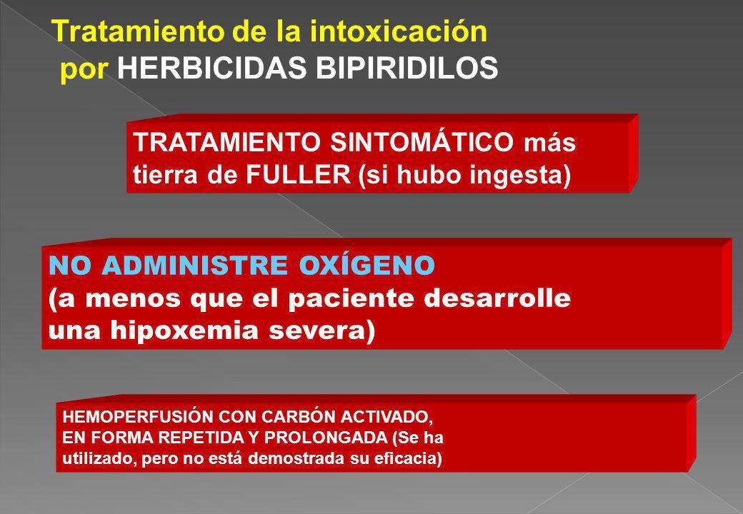 HEMOPERFUSIÓN CON CARBÓN ACTIVADO, EN FORMA REPETIDA Y PROLONGADA (Se ha utilizado, pero no está demostrada su eficacia) TRATAMIENTO SINTOMÁTICO más t