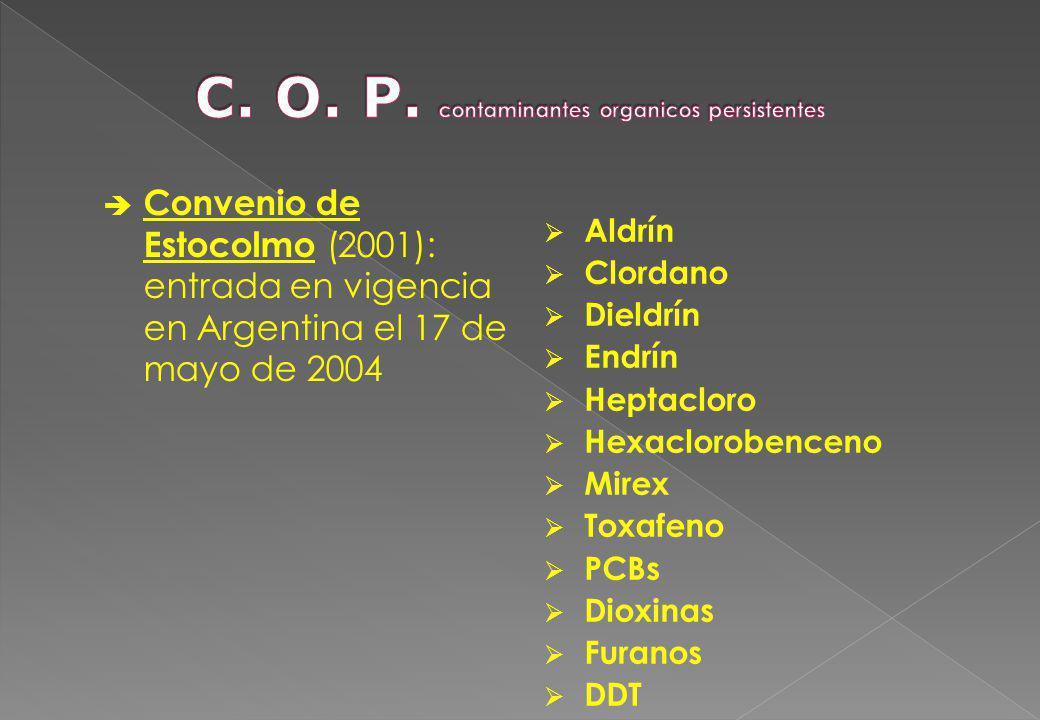Convenio de Estocolmo (2001): entrada en vigencia en Argentina el 17 de mayo de 2004 Aldrín Clordano Dieldrín Endrín Heptacloro Hexaclorobenceno Mirex