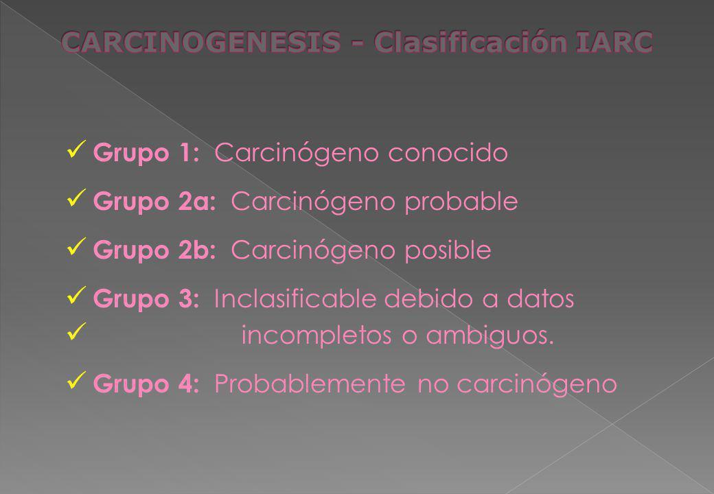 Grupo 1: Carcinógeno conocido Grupo 2a: Carcinógeno probable Grupo 2b: Carcinógeno posible Grupo 3: Inclasificable debido a datos incompletos o ambigu