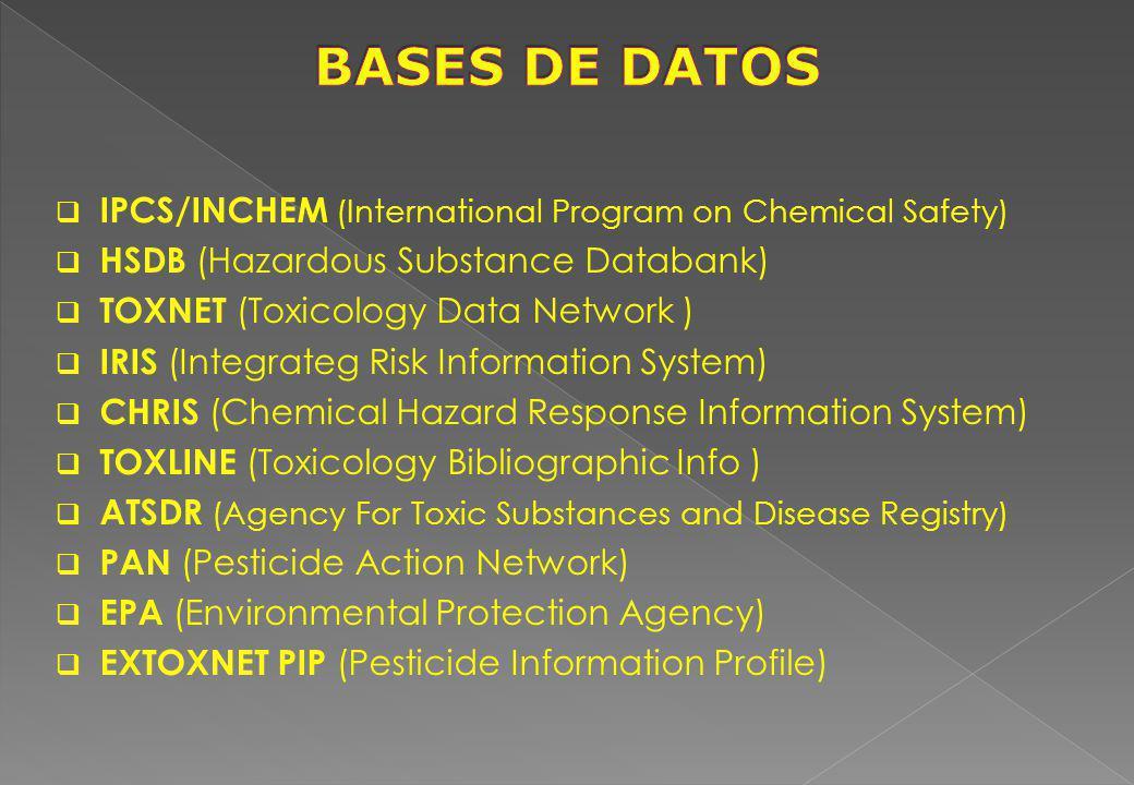 IPCS/INCHEM (International Program on Chemical Safety) HSDB (Hazardous Substance Databank) TOXNET (Toxicology Data Network ) IRIS (Integrateg Risk Inf