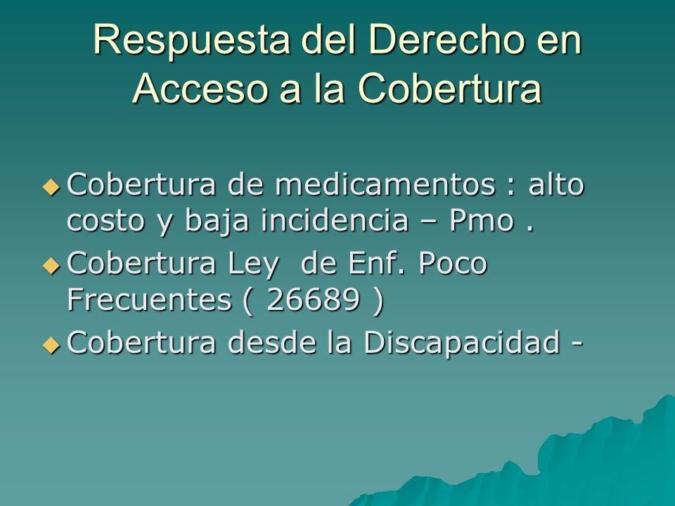Respuesta del Derecho en Acceso a la Cobertura Cobertura de medicamentos : alto costo y baja incidencia – Pmo. Cobertura de medicamentos : alto costo