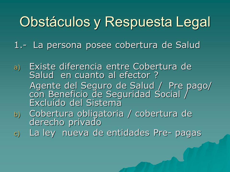 Obstáculos y Respuesta Legal 1.- La persona posee cobertura de Salud a) Existe diferencia entre Cobertura de Salud en cuanto al efector ? Agente del S