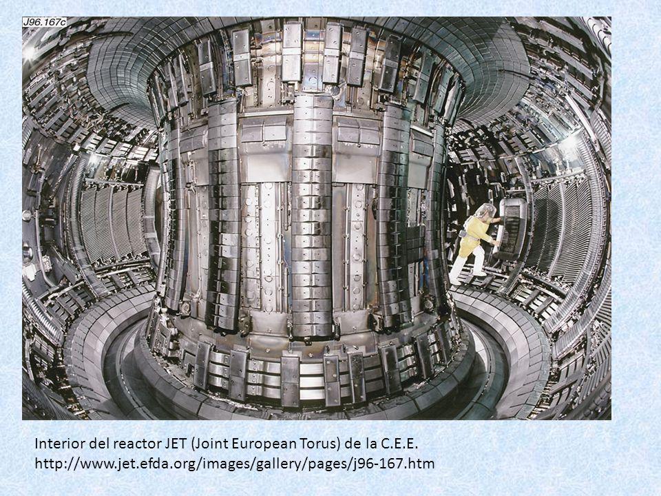 Interior del reactor JET (Joint European Torus) de la C.E.E. http://www.jet.efda.org/images/gallery/pages/j96-167.htm