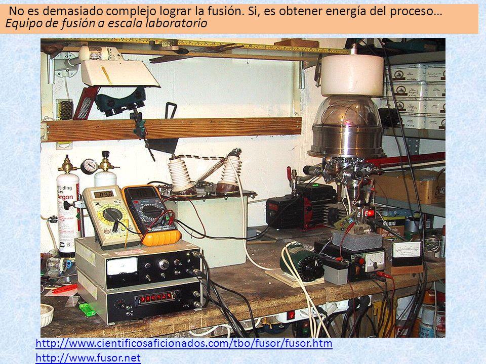 http://www.cientificosaficionados.com/tbo/fusor/fusor.htm http://www.fusor.net No es demasiado complejo lograr la fusión. Si, es obtener energía del p