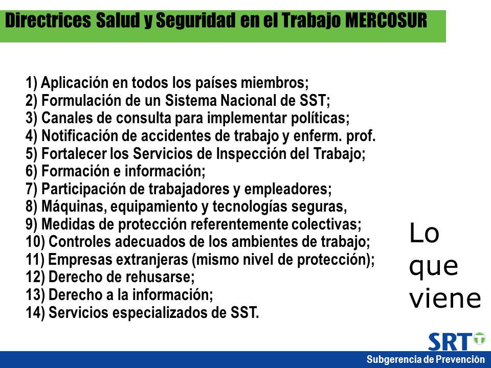 Subgerencia de Prevención 1) Aplicación en todos los países miembros; 2) Formulación de un Sistema Nacional de SST; 3) Canales de consulta para implem