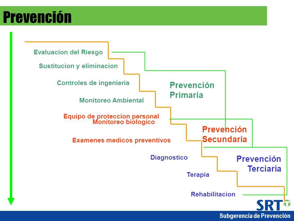 Subgerencia de Prevención Evaluacion del Riesgo Sustitucion y eliminacion Controles de ingenieria Monitoreo Ambiental Equipo de proteccion personal Mo