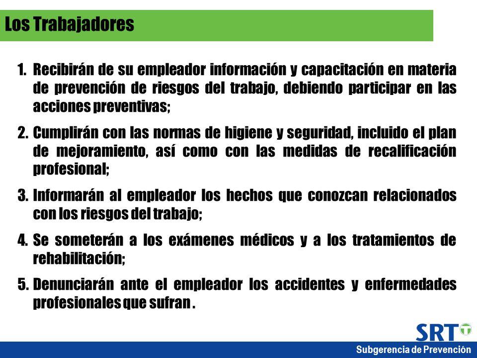 Subgerencia de Prevención 1.Recibirán de su empleador información y capacitación en materia de prevención de riesgos del trabajo, debiendo participar