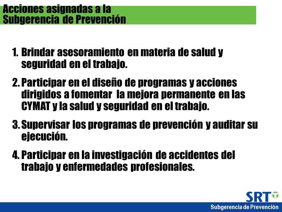 Subgerencia de Prevención 1.Brindar asesoramiento en materia de salud y seguridad en el trabajo. 2.Participar en el diseño de programas y acciones dir