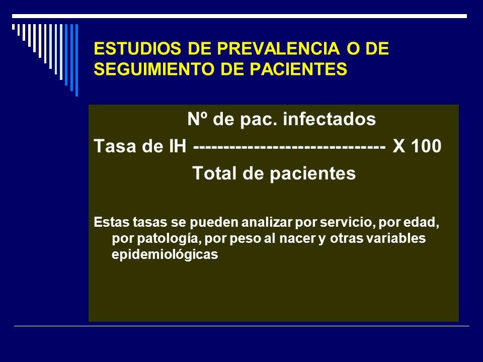 ESTUDIOS DE PREVALENCIA O DE SEGUIMIENTO DE PACIENTES Nº de pac. infectados Tasa de IH ------------------------------- X 100 Total de pacientes Estas