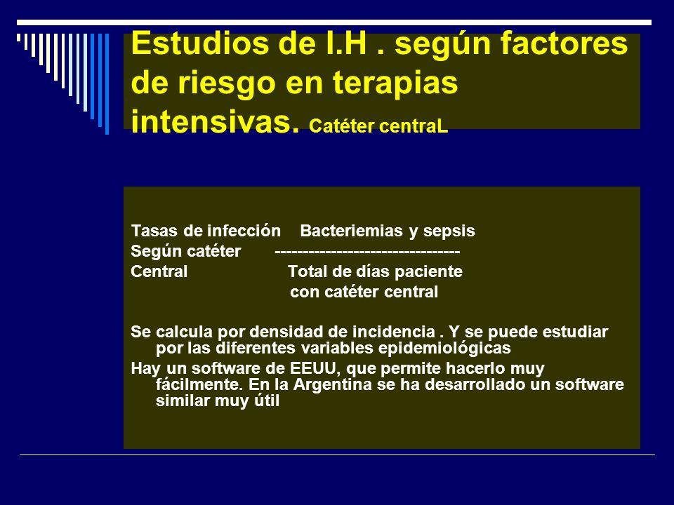 Estudios de I.H. según factores de riesgo en terapias intensivas. Catéter centraL Tasas de infección Bacteriemias y sepsis Según catéter -------------