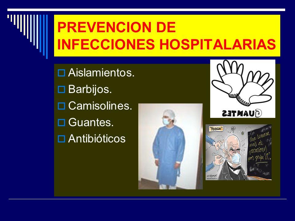PREVENCION DE INFECCIONES HOSPITALARIAS Aislamientos. Barbijos. Camisolines. Guantes. Antibióticos