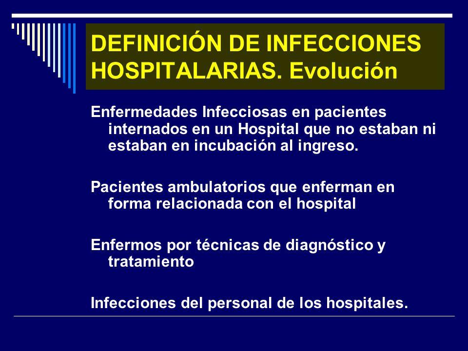 DEFINICIÓN DE INFECCIONES HOSPITALARIAS. Evolución Enfermedades Infecciosas en pacientes internados en un Hospital que no estaban ni estaban en incuba