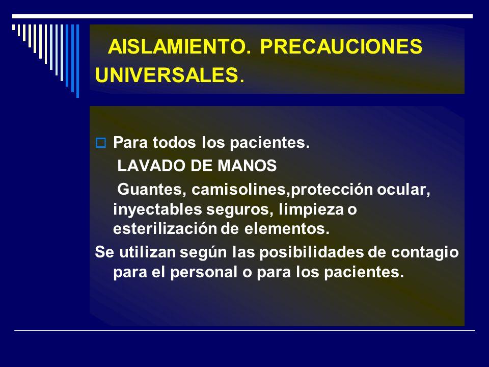 AISLAMIENTO. PRECAUCIONES UNIVERSALES. Para todos los pacientes. LAVADO DE MANOS Guantes, camisolines,protección ocular, inyectables seguros, limpieza