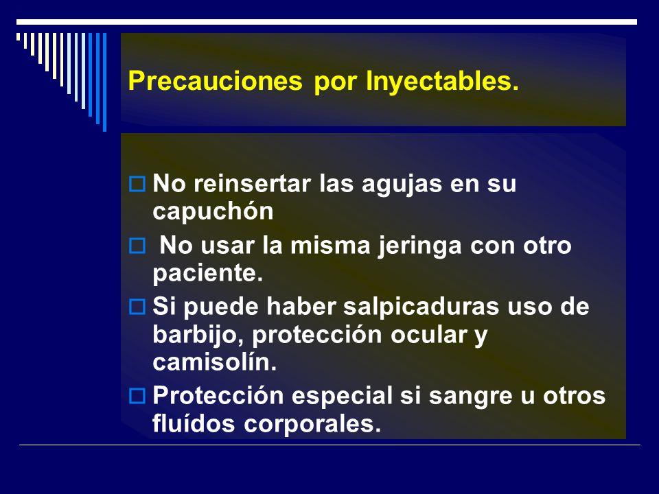 Precauciones por Inyectables. No reinsertar las agujas en su capuchón No usar la misma jeringa con otro paciente. Si puede haber salpicaduras uso de b
