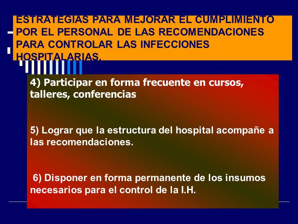 ESTRATEGIAS PARA MEJORAR EL CUMPLIMIENTO POR EL PERSONAL DE LAS RECOMENDACIONES PARA CONTROLAR LAS INFECCIONES HOSPITALARIAS. 4) Participar en forma f