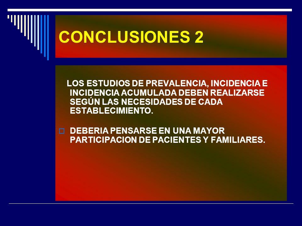 CONCLUSIONES 2 LOS ESTUDIOS DE PREVALENCIA, INCIDENCIA E INCIDENCIA ACUMULADA DEBEN REALIZARSE SEGÚN LAS NECESIDADES DE CADA ESTABLECIMIENTO. DEBERIA