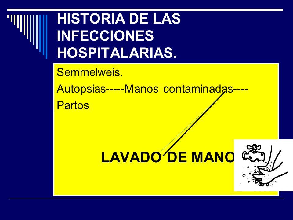 HISTORIA DE LAS INFECCIONES HOSPITALARIAS. Semmelweis. Autopsias-----Manos contaminadas---- Partos LAVADO DE MANOS
