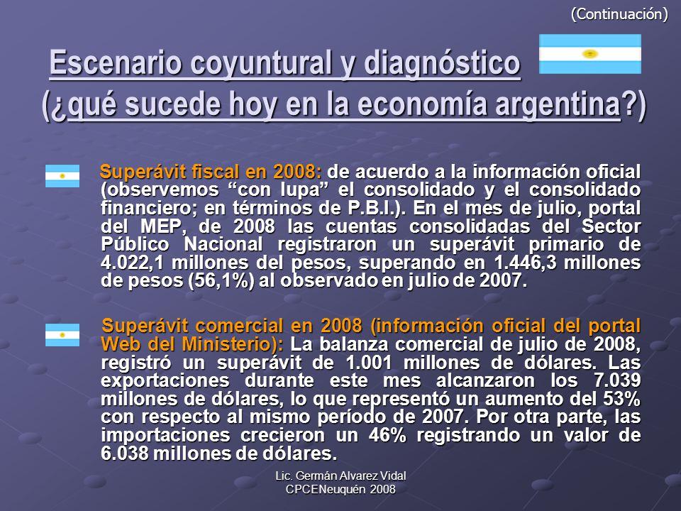 Lic. Germán Alvarez Vidal CPCENeuquén 2008 (Continuación) Escenario coyuntural y diagnóstico (¿qué sucede hoy en la economía argentina?) (Continuación