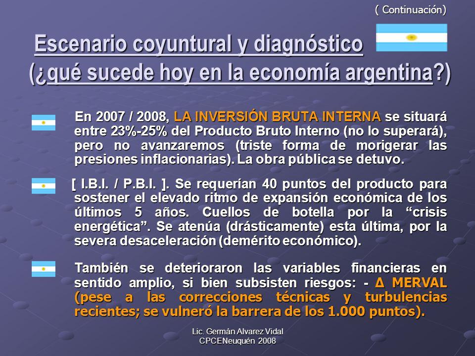 Lic. Germán Alvarez Vidal CPCENeuquén 2008 ( Continuación) Escenario coyuntural y diagnóstico (¿qué sucede hoy en la economía argentina?) ( Continuaci
