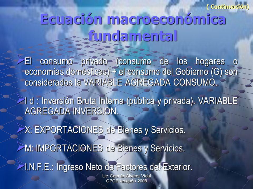 Lic. Germán Alvarez Vidal CPCENeuquén 2008 ( Continuación) Ecuación macroeconómica fundamental ( Continuación) Ecuación macroeconómica fundamental El