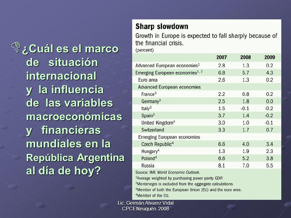 Lic. Germán Alvarez Vidal CPCENeuquén 2008 ¿Cuál es el marco ¿Cuál es el marco de situación de situación internacional internacional y la influencia y