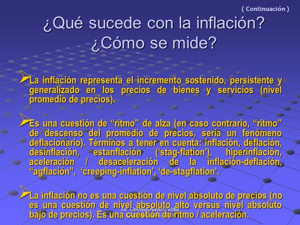 Lic. Germán Alvarez Vidal CPCENeuquén 2008 ¿Qué sucede con la inflación? ¿Cómo se mide? ( Continuación ) ¿Qué sucede con la inflación? ¿Cómo se mide?