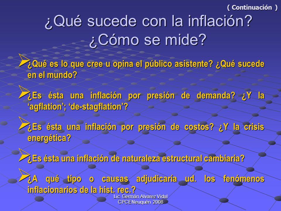 Lic. Germán Alvarez Vidal CPCENeuquén 2008 ( Continuación ) ¿Qué sucede con la inflación? ¿Cómo se mide? ( Continuación ) ¿Qué sucede con la inflación