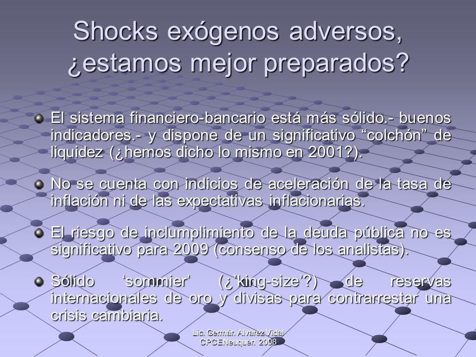 Lic. Germán Alvarez Vidal CPCENeuquén 2008 Shocks exógenos adversos, ¿estamos mejor preparados? El sistema financiero-bancario está más sólido.- bueno