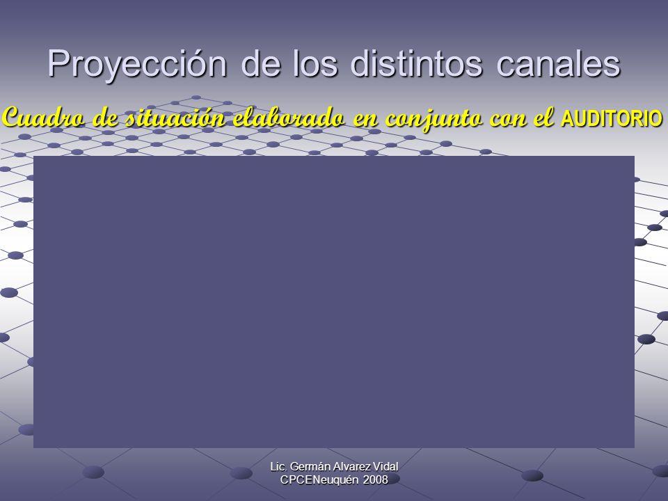Lic. Germán Alvarez Vidal CPCENeuquén 2008 Proyección de los distintos canales Cuadro de situación elaborado en conjunto con el AUDITORIO