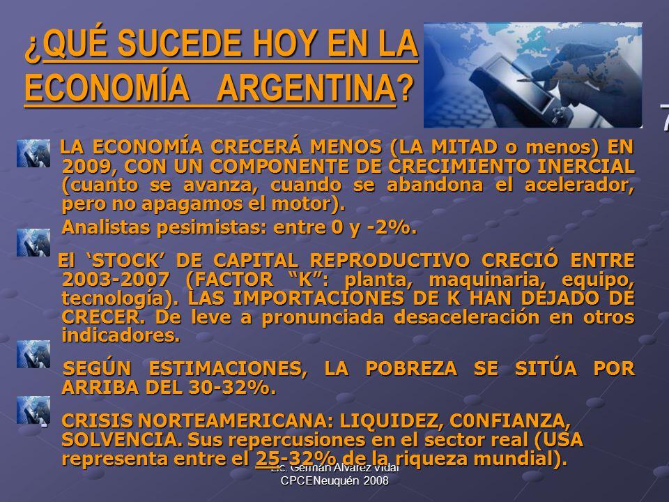 Lic. Germán Alvarez Vidal CPCENeuquén 2008 7 ¿QUÉ SUCEDE HOY EN LA ¿QUÉ SUCEDE HOY EN LA ECONOMÍA ARGENTINA? ECONOMÍA ARGENTINA? LA ECONOMÍA CRECERÁ M