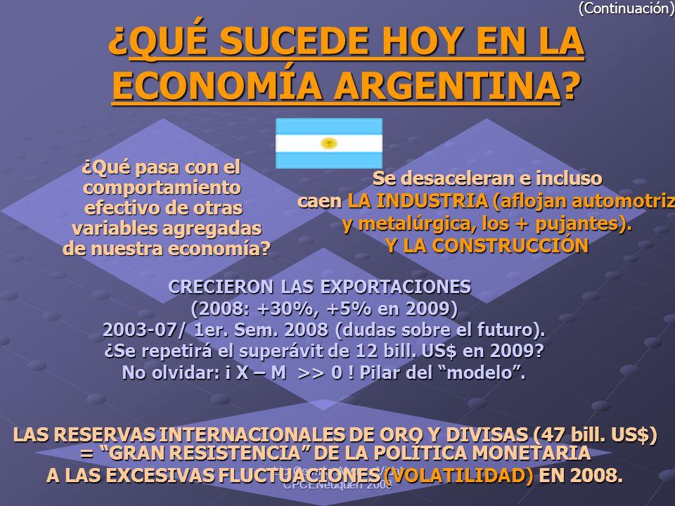 Lic. Germán Alvarez Vidal CPCENeuquén 2008 (Continuación) ¿QUÉ ¿QUÉ SUCEDE HOY EN LA ECONOMÍA ARGENTINA? ¿Qué pasa con el comportamiento efectivo de o