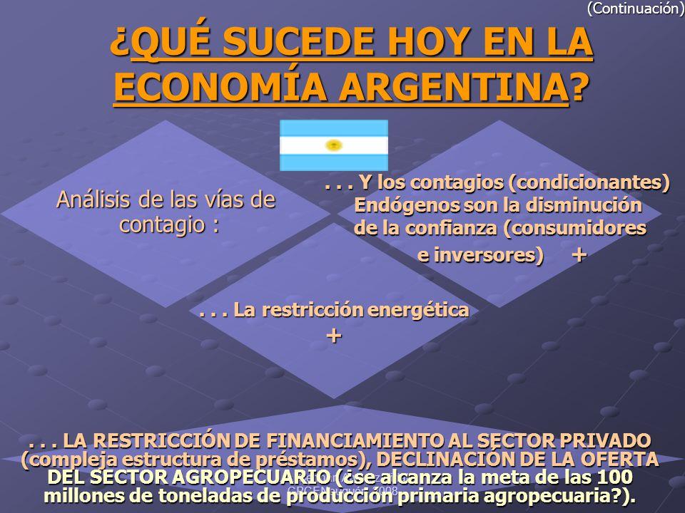 Lic. Germán Alvarez Vidal CPCENeuquén 2008 (Continuación) ¿QUÉ ¿QUÉ SUCEDE HOY EN LA ECONOMÍA ARGENTINA? Análisis de las vías de contagio : contagio :