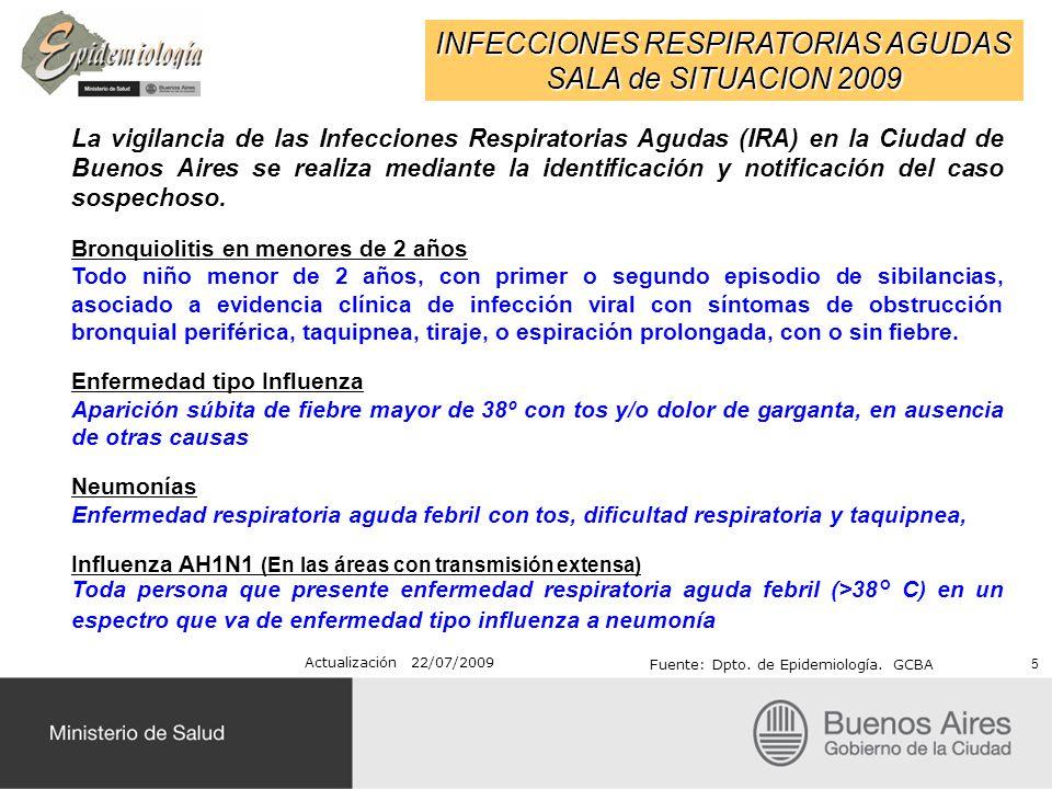 INFECCIONES RESPIRATORIAS AGUDAS SALA de SITUACION 2009 Actualización 22/07/2009 Fuente: Dpto. de Epidemiología. GCBA La vigilancia de las Infecciones