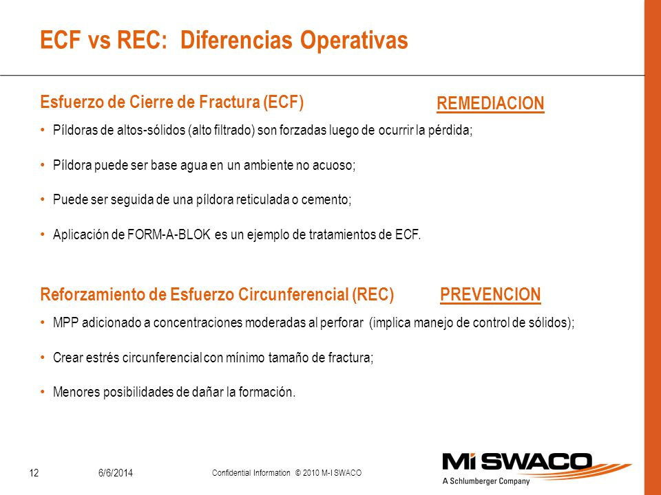 6/6/2014 Confidential Information © 2010 M-I SWACO 12 ECF vs REC: Diferencias Operativas Píldoras de altos-sólidos (alto filtrado) son forzadas luego