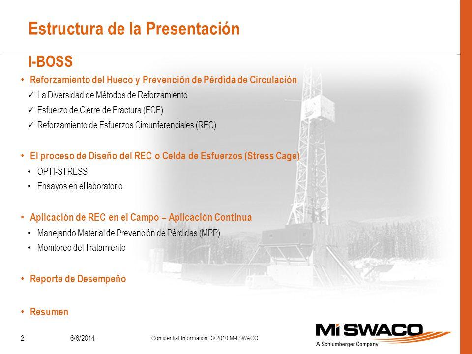 6/6/2014 Confidential Information © 2010 M-I SWACO 2 Estructura de la Presentación Reforzamiento del Hueco y Prevención de Pérdida de Circulación La D