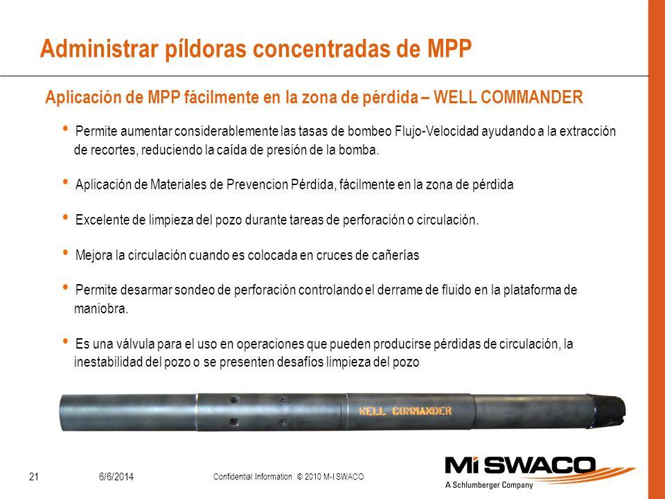 Administrar píldoras concentradas de MPP 6/6/2014 Confidential Information © 2010 M-I SWACO 21 Aplicación de MPP fácilmente en la zona de pérdida – WE