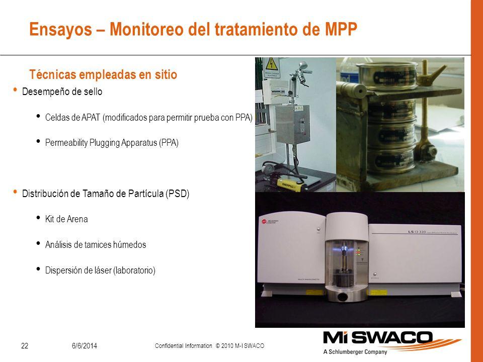 Ensayos – Monitoreo del tratamiento de MPP Técnicas empleadas en sitio 6/6/2014 Confidential Information © 2010 M-I SWACO 22 Desempeño de sello Celdas