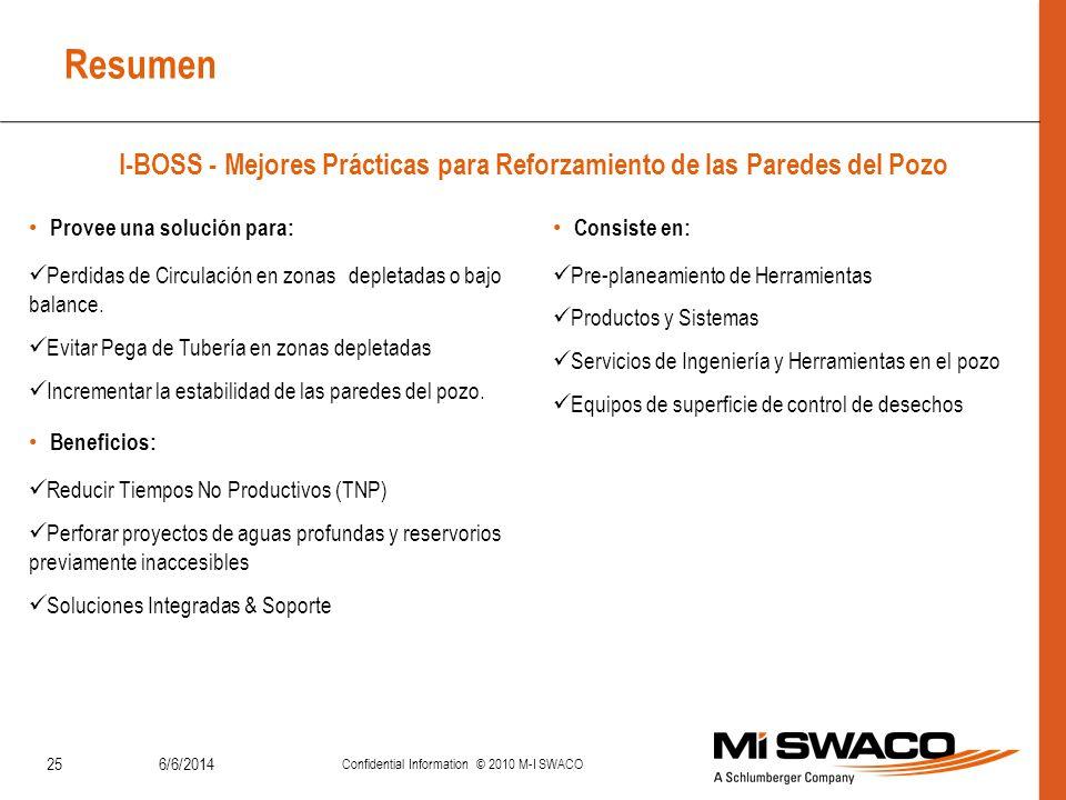 Resumen I-BOSS - Mejores Prácticas para Reforzamiento de las Paredes del Pozo 6/6/2014 Confidential Information © 2010 M-I SWACO 25 Provee una solució