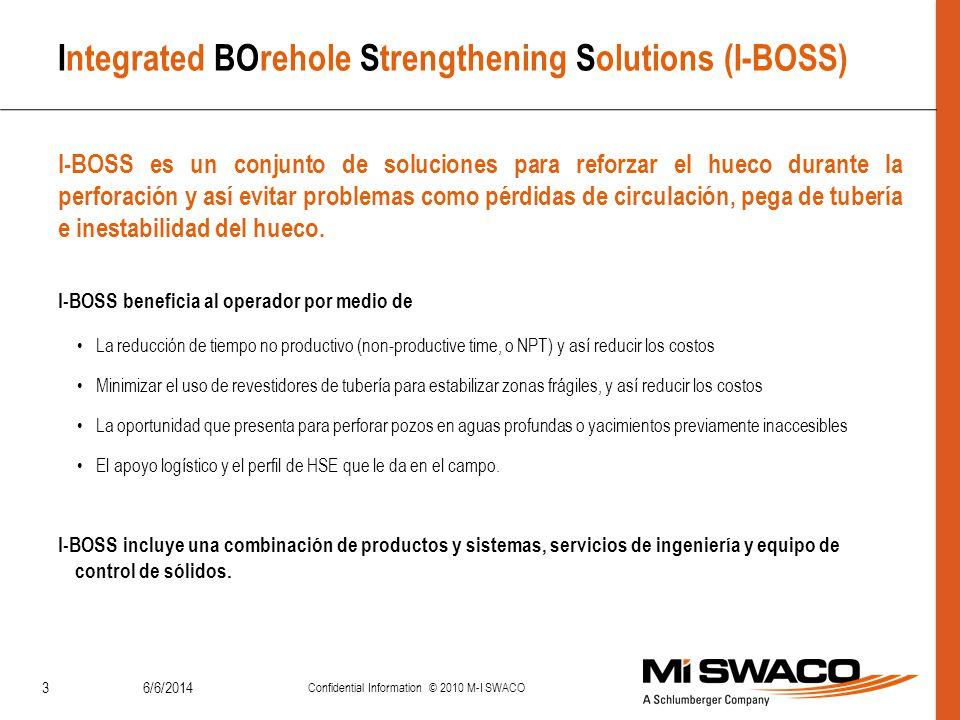 6/6/2014 Confidential Information © 2010 M-I SWACO 24 Reporte de Desempeño Adición Continua (Materiales Reforzadores) Se mantuvo una concentración de 3 lb/bbl de cada material marmolado (CaCO 3 ) de tamaño: D 50 = 40 micras y D 50 = 250 micras basados en software de diseño de MPP y disponibilidad de los productos locales.