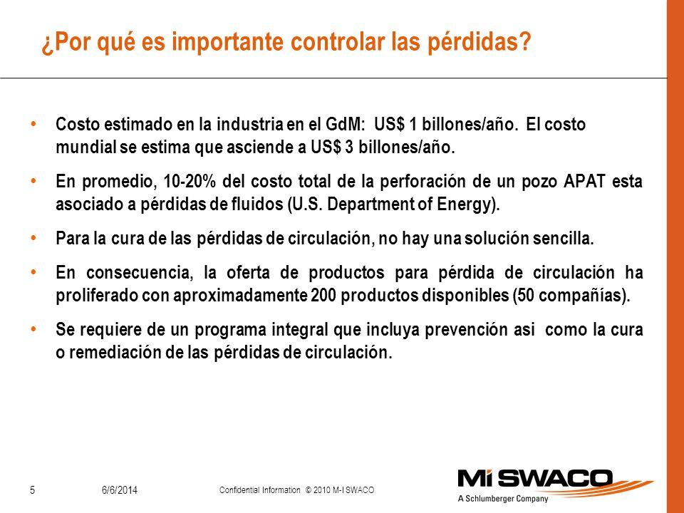 6/6/2014 Confidential Information © 2010 M-I SWACO 5 ¿Por qué es importante controlar las pérdidas? Costo estimado en la industria en el GdM: US$ 1 bi