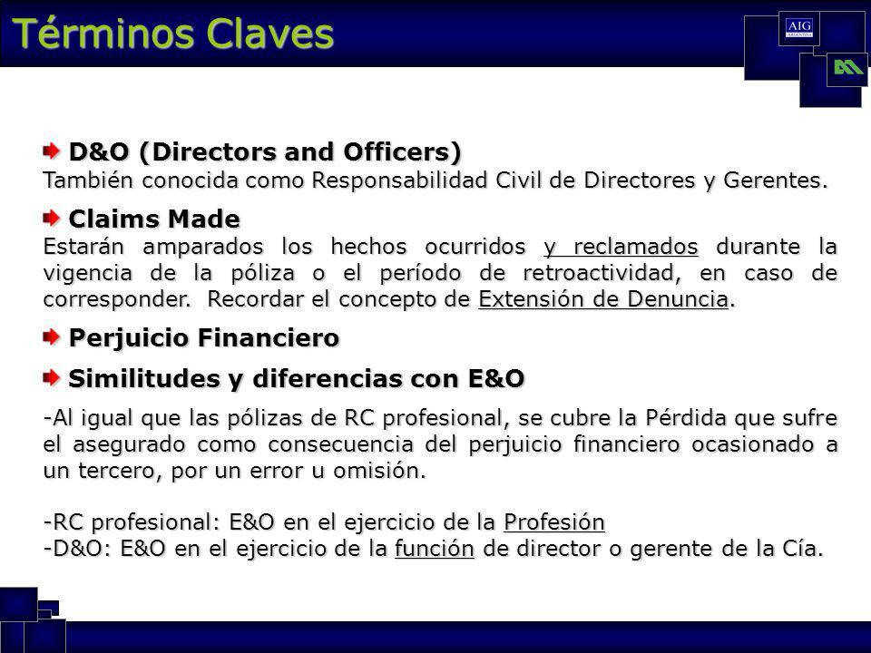 Términos Claves D&O (Directors and Officers) D&O (Directors and Officers) También conocida como Responsabilidad Civil de Directores y Gerentes.