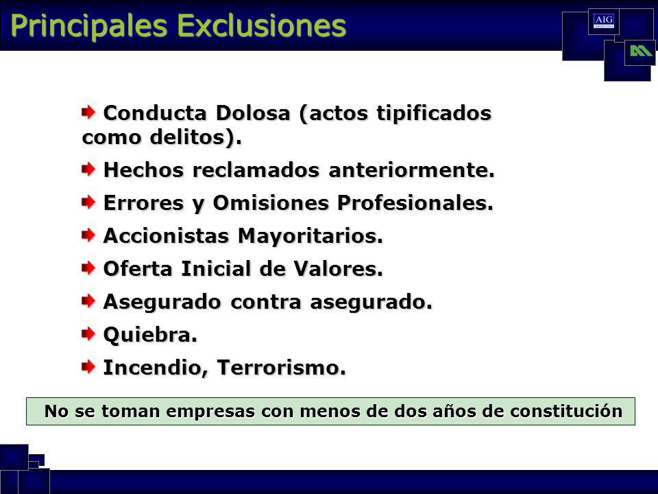 Principales Exclusiones Conducta Dolosa (actos tipificados como delitos).