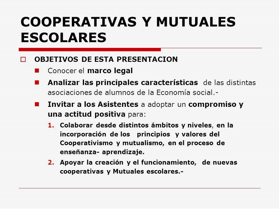 COOPERATIVAS Y MUTUALES ESCOLARES OBJETIVOS DE ESTA PRESENTACION Conocer el marco legal Analizar las principales características de las distintas asoc