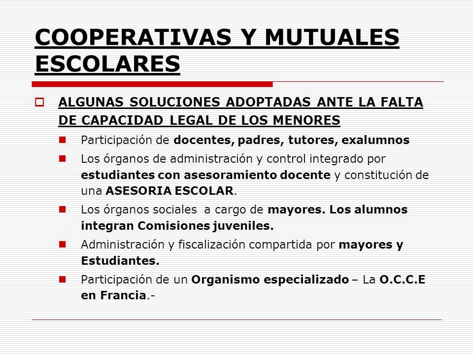 COOPERATIVAS Y MUTUALES ESCOLARES ALGUNAS SOLUCIONES ADOPTADAS ANTE LA FALTA DE CAPACIDAD LEGAL DE LOS MENORES Participación de docentes, padres, tuto