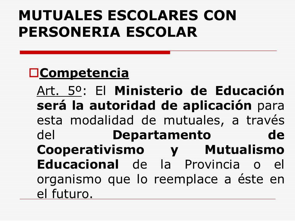 MUTUALES ESCOLARES CON PERSONERIA ESCOLAR Competencia Art. 5º: El Ministerio de Educación será la autoridad de aplicación para esta modalidad de mutua