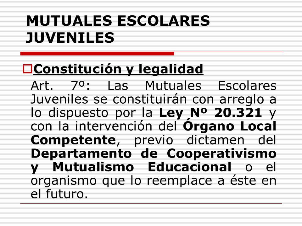 MUTUALES ESCOLARES JUVENILES Constitución y legalidad Art. 7º: Las Mutuales Escolares Juveniles se constituirán con arreglo a lo dispuesto por la Ley